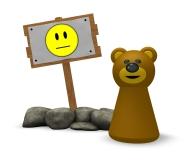 spielfigur bär und holzschild - 3d illustration