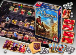In Vienna spielen drei Dinge eine Rolle: Personenkarten, Sonderkarten und Münzen.