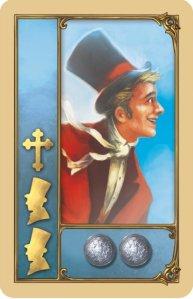 Eine der Personenstartkarten. Hier gibt es zum Start noch zwei Münzen.