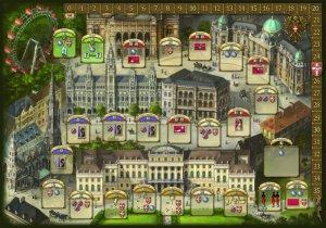 Der Spielplan: Die Kutsche fährt von oben links nach unten rechts