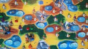 Auf dem Spielplan von Broom Service gibt es vier verschiedene Arten von Gebieten, die mit der jeweiligen Hexe betreten werden können