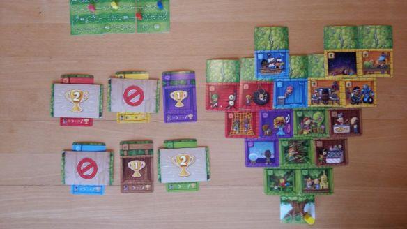 Guter Plan von den Mitspielern durchkreuzt: Für Gelb und Blau gibt es leider keine Punkte. Für jede grüne und rote Karte dafür 2 Siegpunkte.