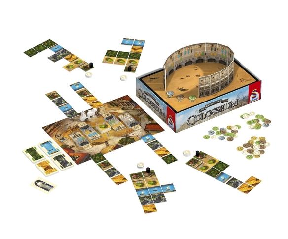 Im Laufe des Spiels entsteht das Colosseum in Rom. Die Baumeister des Colosseums Familienspiel für 2 bis 4 Baumeister