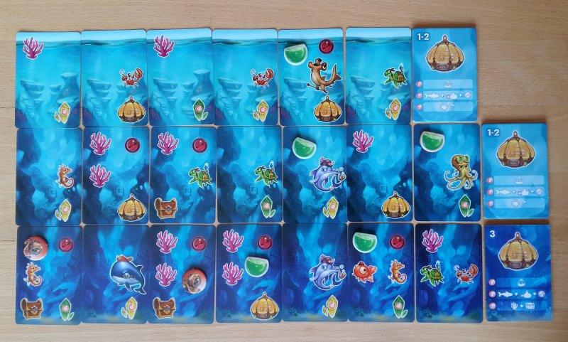 So könnte das Meer am Ende des Spiels aussehen: Am Ende jeder Runde wird die Spielkarte angelegt und ausgeführt.