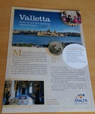 So noch nicht gesehen: Ein Anzeige des Tourismusverbandes Maltas auf der Rückseite der Spielregel