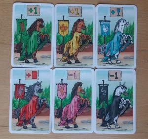 Zu Beginn des Spiels erhält jeder Spieler ein Pferd, das den Ritter unterstützt oder etwas bockig ist